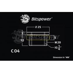 Bitspower G1/4 CaseTop Water-Fill SET Geçiş Rakoru - Black Sparkle
