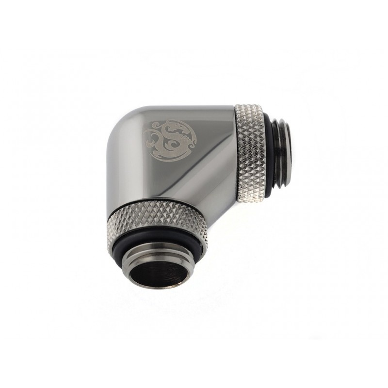 Bitspower G1/4 Male to Male 90° Dual Rotary - Black Sparkle