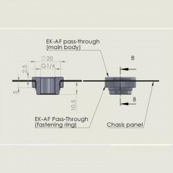 EK-AF Pass-Through G1/4 Geçiş Rakoru - Siyah