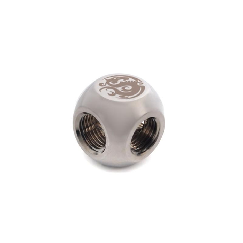 Bitspower Black Sparkle T-Block Küp Rakor - Koyu Silver