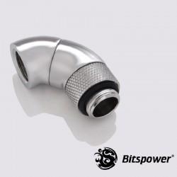 Bitspower G1/4 90° Dirsek Çift Rotaryli IG1/4 - Silver Shining