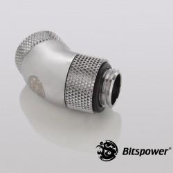 "Bitspower G1/4"" Silver Shining Dual Rotary 45-Degree IG1/4"" Extender"