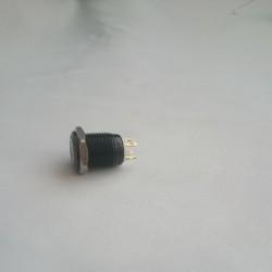 Mavi Halka Işıklı Push Buton (Siyah - 16 mm)